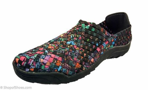BRAND NEW STRONGER SOLE Adesso all elastic upper fun darker multi coloured summer shoe